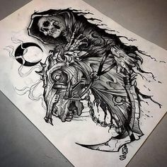 #death #ink #drawing by @flesher_tattooer #art #darkart #supportart #fineart #originalart #artwork #sketch #penandink #horror #horrorart… Skeleton Tattoos, Skull Tattoos, Wolf Tattoos, Leg Tattoos, Sleeve Tattoos, Body Art Tattoos, Grafiti, Creepy Art, Croquis
