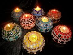Round stone Candle holders with Glass Mosaic