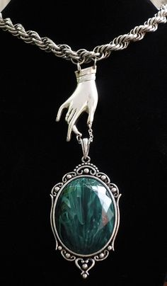Emerald Marbleized Amulet with Reaching Vintage by recrudescence, $65.00
