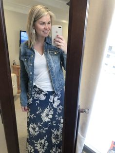 Love this whole outfit. Stitch Fix Maxi, Stitch Fix Outfits, Spring Fashion Outfits, Fashion Ideas, Maxi Shirts, Jean Jacket Outfits, Mustard Sweater, Purple Floral Dress, Maxi Skirt Outfits