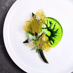 Burned cucumber, parsley puree, bitter herbs, chicken skin chips by @ronnyemborg. by: @signebirck #plating #presentation
