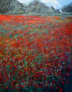 Un paisaje de amapolas en Andalucía. 100x70 cms, óleo sobre lienzo. Disponible en: www.rubendeluis.com