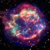 This false-color image from three of NASA's Great Observatories provides one example of a star that died in a fiery supernova blast. Called Cassiopeia A, this supernova remnant is located 10,000 light-years away in the constellation Cassiopeia.