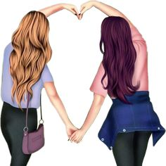 Best Friends Cartoon, Friend Cartoon, Cute Friends, Best Friend Drawings, Bff Drawings, Anime Girl Drawings, Beautiful Girl Drawing, Cute Girl Drawing, Cartoon Girl Images