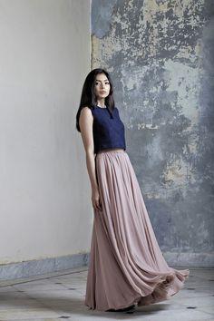Pink Pastel Mousseline Long Skirt