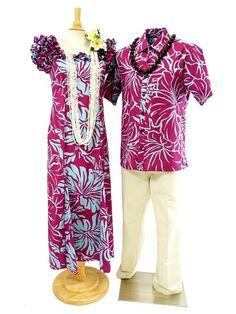 Anuenue [Exclusive] Men's Hawaiian Shirt [Lithographic Hibiscus/Plum&Peri]