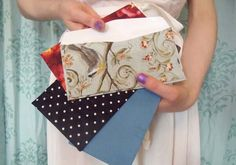 fabric covered envelopes - great way to upcycle all the envelopes from junk mail!
