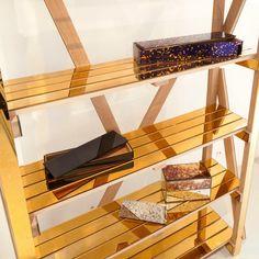 Antique Mirror Standing Gold Shelf