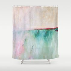 Pink Shower Curtain Turquoise Shower Curtain by DesignbyJuliaBars