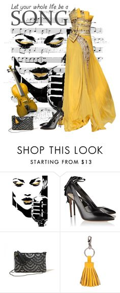 """""""Music - Yellow and Gray"""" by love-n-laughter ❤ liked on Polyvore featuring Nicholas Kirkwood, Hollister Co. and ILI"""