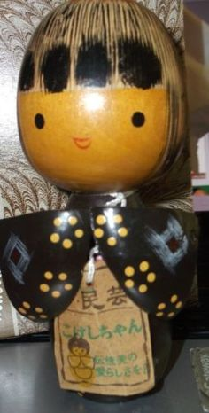 Kokeshi-Doll-Wooden-Chinese-Asian-Japan-Wood-hand-painted-label-Doll