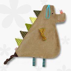 XXL -Schmusetuch - Knistertuch *Drache beige-grün* von bySaM - so einzigartig wie Ihr Kind auf DaWanda.com