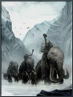 Giants riding Mammoths by Tom Graham!