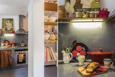 La transformación de un depto en el Microcentro  En la cocina, mesada de hormigón armado pintada con epoxi Kelcot, de un gris que se asocia perfectamente con el horno y la campana de acero inoxidable, mientras que una cortina a tono disimula la zona de guardado Foto:Daniel Karp