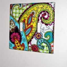 Switch plate Covers / Fabric Paisley Print // by AquaXpressions