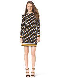 T841E MICHAEL Michael Kors  Printed Contrast-Trim Dress