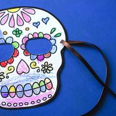 Printable Sugar Skull Masks to Color | Spoonful