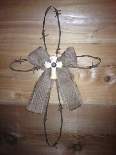 Barbed Wire and Burlap Cross FREE SHIPPING by brandypotter1, $23.00