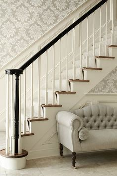 stairs with wainscotting