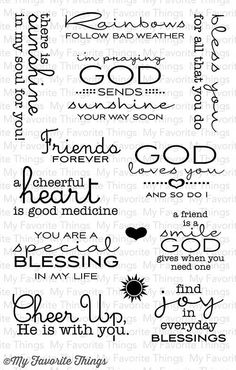 """MFT STAMPS: Cheerful Blessings (4"""" x 6"""" Clear Photopolymer Stamp Set) This 13…"""
