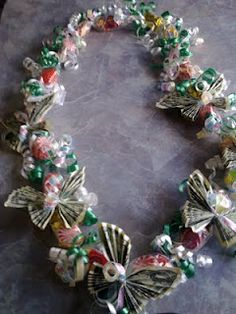 candy lei with butterfly bill