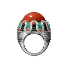 In Love With Jewels: Etourdissant Cartier!!! Anello Teinte corallo crisoprasio lacca nera diamanti