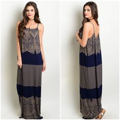 ✨NEW✨Tan Navy Tribal Flowy Maxi Dress Boho, oversized flowy maxi with a navy and tab tribal stripe design and spaghetti straps. Leather and Sequins Dresses Maxi