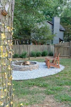 Add a cozy new atmosphere with a large firepit (that also does double-duty for burning yard debris) and outdoor lights around trees.