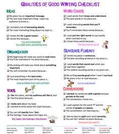 Qualities Of Good Writing Checklist Teaching Writing Traits 5th Grade Writing, Middle School Writing, Writing Classes, Writing Lessons, Writing Workshop, Teaching Writing, Writing Skills, Teaching Ideas, Writing Process