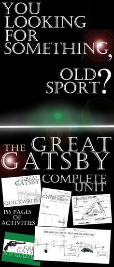 A rich teaching unit for F. Scott Fitzgerald's highly engaging classic novel The Great Gatsby. 155 pages of activities that are sure to engage high school English students. Prohibition Era, Plot, Conflict, Setting, Characters, Writing Journals, Pop Quizzes, Vocabulary, Figurative Language, Symbols, Essay, Movie Comparison