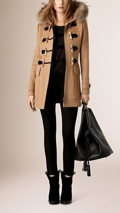 Camel Detachable Fur Trim Wool Duffle Coat - Image 2