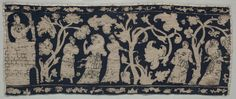 Embroidered Border, 1500s-1600s Italy, 16th-17th century embroidery; silk on linen, Overall - h:11.80 w:29.20 cm (h:4 5/8 w:11 7/16 inches). Gift of The Textile Arts Club 1939.357.a
