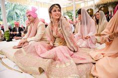 16 ideas for indian bridal lehenga blush Lehenga Wedding, Sikh Wedding, Punjabi Wedding, Pakistani Bridal, Wedding Attire, Wedding Lenghas, Sikh Bride, Desi Bride, Greek Wedding