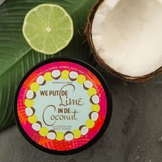Smooth your cares away, island style! We Put De Lime in De Coconut to clean and excite your skin. Sugar and sea salt scrub away dry skin and imperfections while lime essential oil cleanses and treats dark spots and blemishes. It's an island vacation in a tub! (Palm trees not included.)
