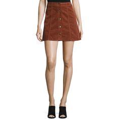 Joie Tilda Corduroy Button-Front Miniskirt (850 RON) ❤ liked on Polyvore featuring skirts, mini skirts, rust, corduroy skirt, short skirts, joie skirt, a line corduroy skirt and button front a line skirt