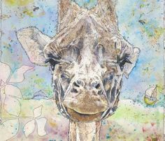 Detail of 'Head of Giraffa camelopardalis' Watercolour Mijello_Mission Gold Class and Ink-pen on Saunders Waterford by St Cuthberts Mill, 38 x 48 cm St Cuthbert, Gold Class, Petra, Watercolour, Moose Art, My Arts, Artists, Ink, Detail