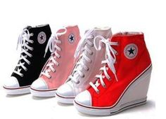 The only kind of sneakers you'd catch me in would have to have heels! Converse heels - Womens White Sneakers Zip Wedge Heel Shoes US 5 8 Lady Platform Ankle Boots Mode Converse, Converse Wedges, Converse Style, Shoes Heels Wedges, Wedge Sneakers, Best Sneakers, Converse All Star, Wedge Heels, Pumps