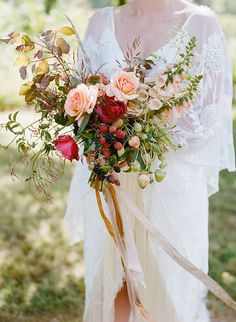 Wild boho bridal bouquet with strawberries designed by studio choo, christina mcneill, bash please,
