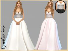 Strapless Lace Bodice Wedding Dress by melisa inci at TSR • Sims 4 Updates