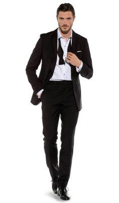 Guinness Slim-Fit 1-Button Black Dinner Suit, , portrait