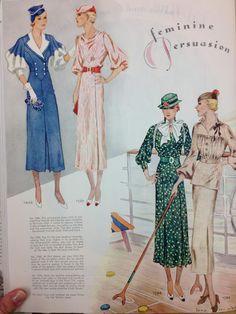 McCall 7406, 7385, 7396 and 7382   ca. 1933 Dresses