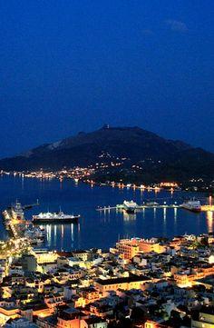 Zakynthos town at night, Zakynthos Island, Greece