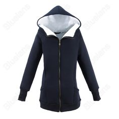 Discount China china wholesale Womens Casual High Neck Hooded Pockets Sweater Hoodie Zip Up Outwear Fleece Lining [33211] - US$22.99 : DealsChic