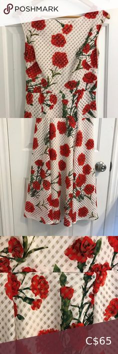 """Betsey Johnson Red Poppy Sleeveless Midi Dress Betsey Johnson Red Poppy Sleeveless Midi Dress Beautiful red on white fit and flare dress Boat neckline with v back  Full cotton lining, zipper enclosure on back Excellent pre-owned condition About 16"""" pit to pit About 44.5"""" long from shoulder Betsey Johnson Dresses Midi White Halter Dress, Wrap Dress Floral, Jaquard Dress, Purple Velvet Dress, Sexy Little Black Dresses, Betsey Johnson Dresses, Pin Up Dresses, Red Poppies, Flare Dress"""