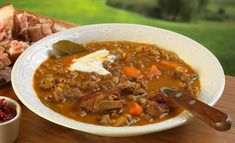 Tejfölös lencsegulyás – Receptletöltés Chili, Soup, Deco, Chile, Chilis, Soups, Chowder