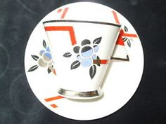 Shelley Mode Shape Tea Duo Cup and Saucer Rare 11756 Pattern Platinum and Coral in Pottery, Porcelain & Glass, Porcelain/ China, Shelley, Decorative/ Ornamental | eBay