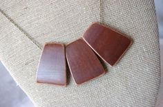 Geometric Necklace Wood Necklace Minimalist by TheSkinnyThicket, $14.99