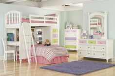 http://taizh.com/wp-content/uploads/2014/11/Adorable-double-decker-bed-design-in-elegant-kids-bedroom-with-pink-striped-bedding-set-also-blue-fur-rug-on-laminate-wooden-floor-including-dresser-beside-soft-blue-paint-wall-including-drawer-vanity-corner.jpg