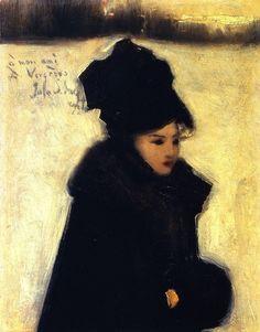 John Singer Sargent - Femme en fourrure 1880