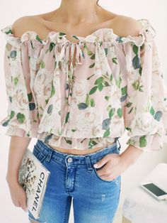 Floral Print Off Shoulder Chiffon Blouse in Beige | Choies